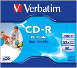 CD-Rohling mit 80 Min/ 700 MB 52x VERBATIM, bedruckbar, Printable Surface
