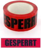 Absperr-Klebeband 50mm x 66m Gesperrt PP schwarzer Druck auf rotem Band